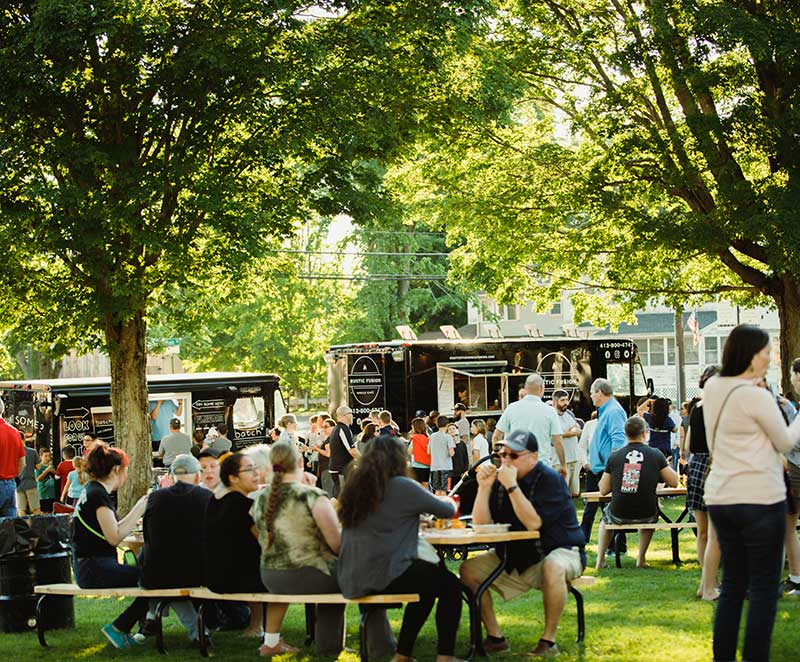 People eating at Food Truck Friday