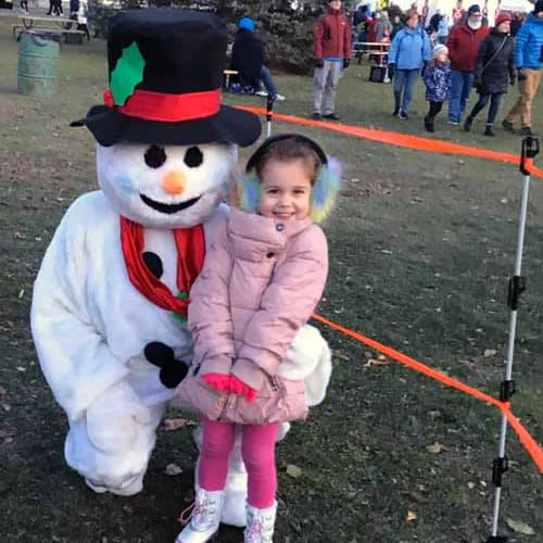 Visiting with Frosty the Snowman at Winter Light Night